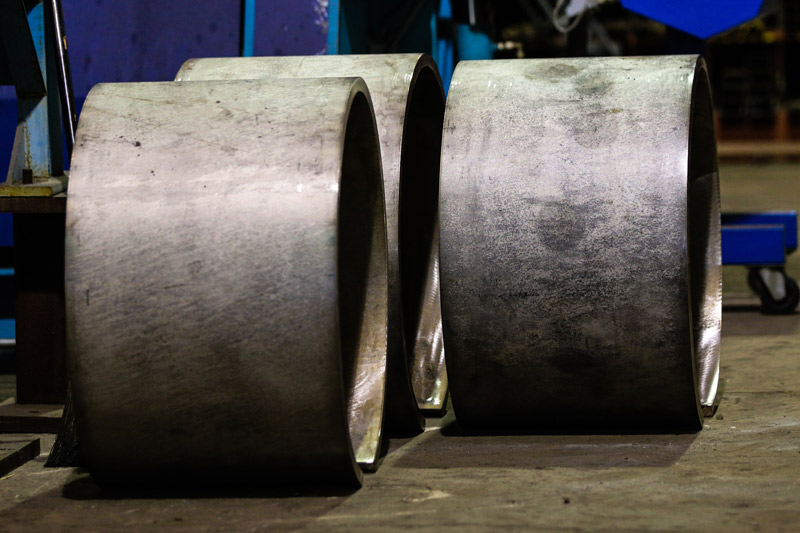 "Baldwin Metals steel cylinders rolled from 1/2"" plate"